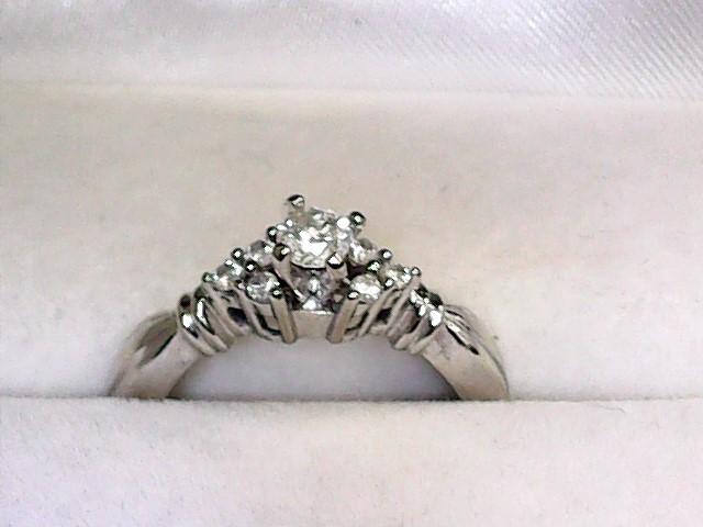 Lady's Diamond Engagement Ring 7 Diamonds .27 Carat T.W. 14K White Gold 2.2dwt