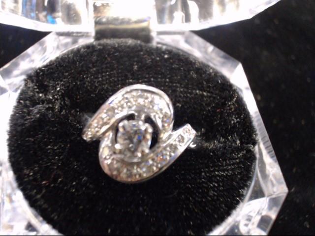 Lady's Gold-Diamond Anniversary Ring 17 Diamonds .57 Carat T.W. 14K White Gold