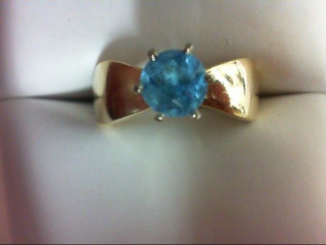 Blue Topaz Lady's Stone Ring 14K Yellow Gold 4.4g