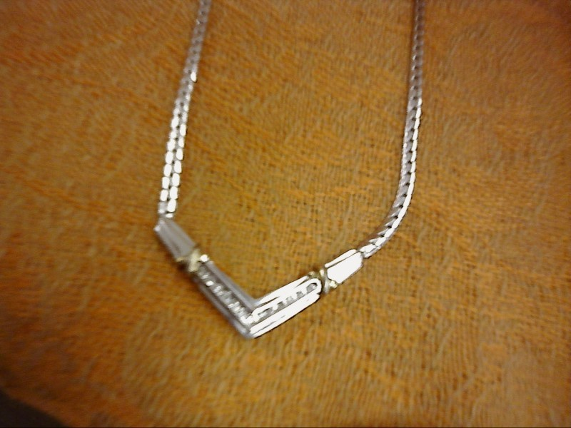 NECKLACE JEWELRY JEWELRY, 7.23 DWT; WIDE V SHAPE WITH GOLD X'S AND 14 SMALL DIA