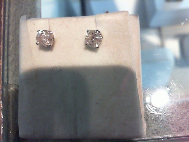 Gold-Diamond Earrings 2 Diamonds .80 Carat T.W. 14K White Gold 1g