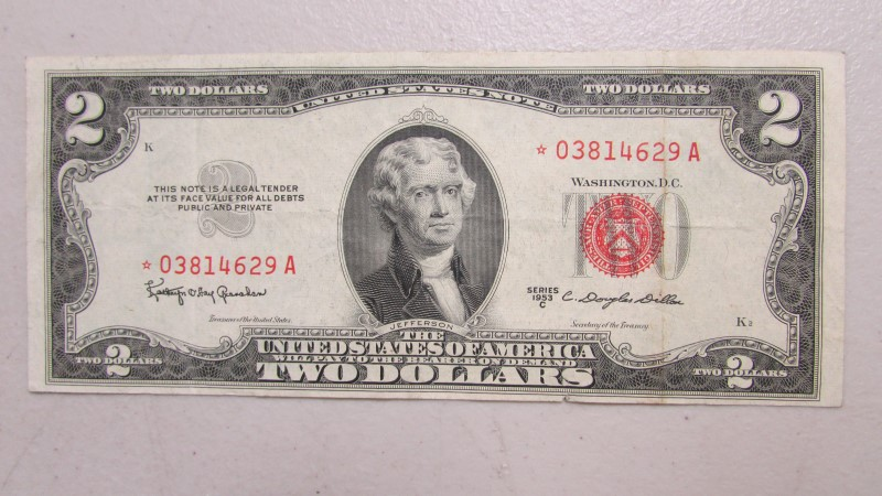 UNITED STATES Paper Money - World 1953 $2 RED STAR NOTE