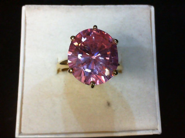 Pink Stone Lady's Stone Ring 14K Yellow Gold 6.4g