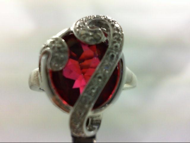 Synthetic Almandite Garnet Lady's Silver-Diamond & Stone Ring 6 Diamonds 0.06 Ca