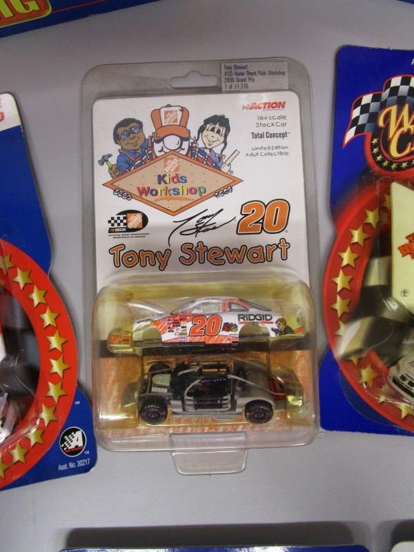 TONY STEWART COLLECTOR'S LOT, #20, 9 PIECES, NASCAR, TWO 1:64 SCALE TRAILER RIGS