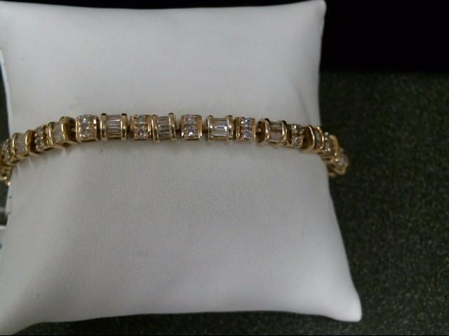 Gold-Diamond Bracelet 100 Diamonds 3.00 Carat T.W. 14K Yellow Gold 15.4g