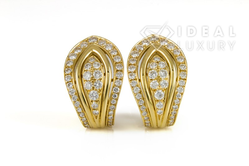 Authentic Cartier 18K Yellow Gold & Diamond Clip-On Earrings 2.00ctw E-F/VS1-VS2