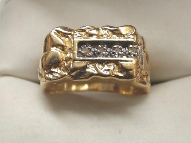 Gent's Diamond Cluster Ring 4 Diamonds .04 Carat T.W. 10K Yellow Gold 4g Size:5