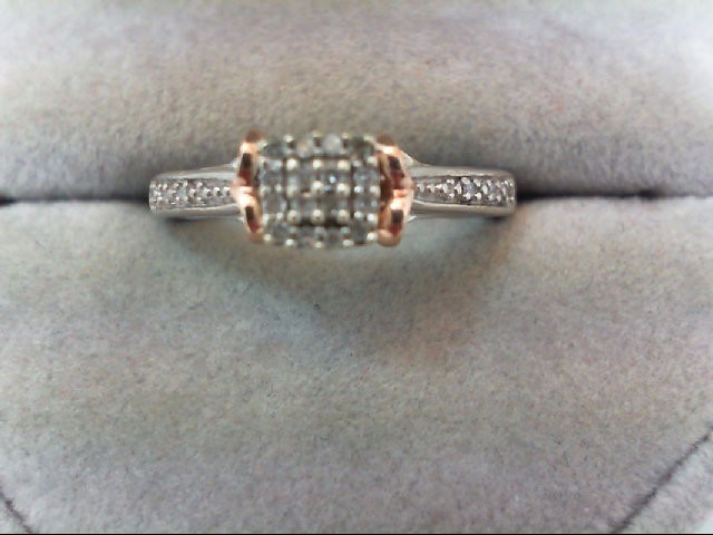 Lady's Silver-Diamond Ring 22 Diamonds 0.22 Carat T.W. 925 Silver 3.3g