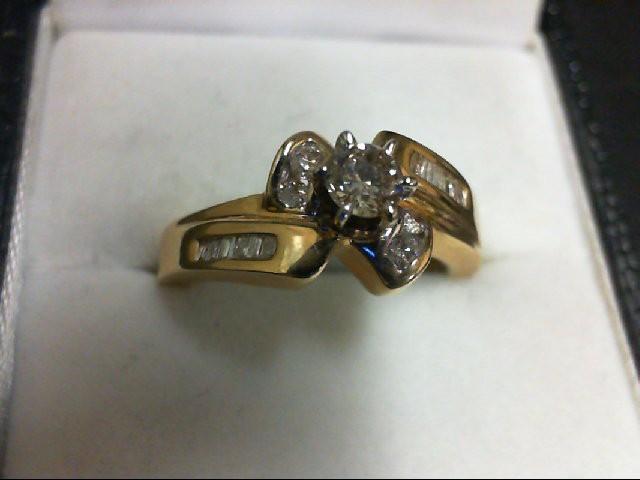 Lady's Diamond Engagement Ring 17 Diamonds 0.42 Carat T.W. 14K Yellow Gold 5.1g