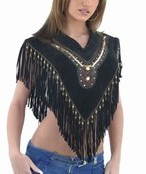 DEALER LEATHER LV4-XS/S; LADIES PONCHO WITH FRINGE WITH SEQUINS AND COPPER PEARL