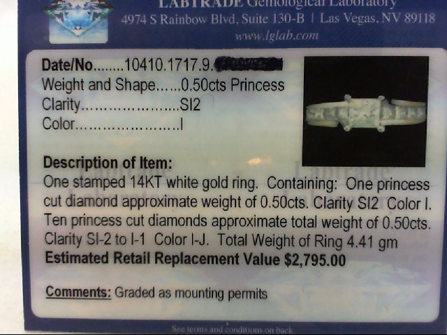Lady's Diamond Engagement Ring 11 Diamonds 1.00 Carat T.W. 14K White Gold 4.41g