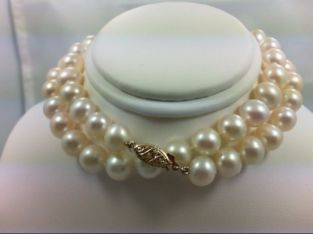 "20"" Pearl Strand Stone Necklace 14K Yellow Gold 40g"