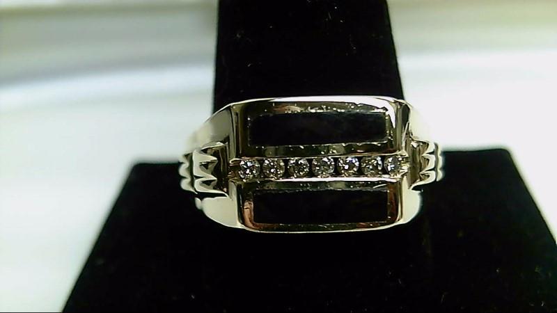 Onyx Gent's Stone & Diamond Ring 7 Diamonds .14 Carat T.W. 14K Yellow Gold