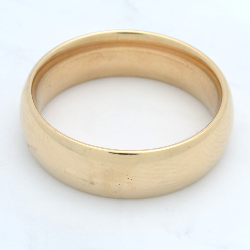 ESTATE WEDDING RING BAND SOLID 14K YELLOW GOLD PLAIN HEAVY SIZE 9