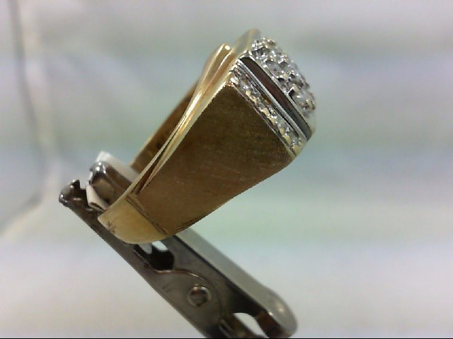 Gent's Diamond Cluster Ring 15 Diamonds 1.0Carat T.W. 14K Yellow Gold 9.07g