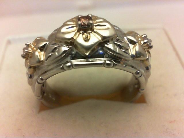 Lady's Silver-Diamond Ring 3 Diamonds 0.07 Carat T.W. 925 Silver 6.7g
