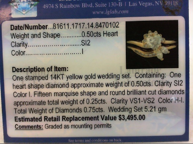 Lady's Diamond Wedding Set 16 Diamonds .80 Carat T.W. 14K Yellow Gold 5.21g