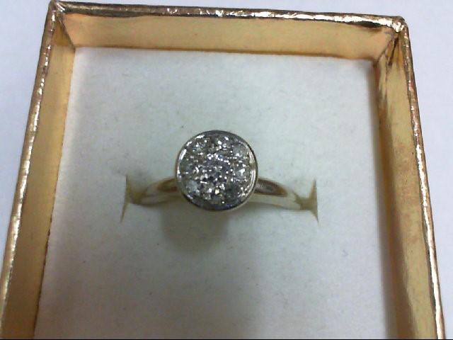 Lady's Diamond Cluster Ring 9 Diamonds 0.21 Carat T.W. 14K White Gold 3.1g Size: