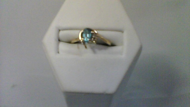 Synthetic Blue Topaz Lady's Stone & Diamond Ring 2 Diamonds .02 Carat T.W.