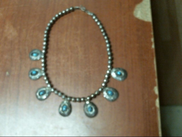 Turquoise Stone Necklace 925 Silver 53g