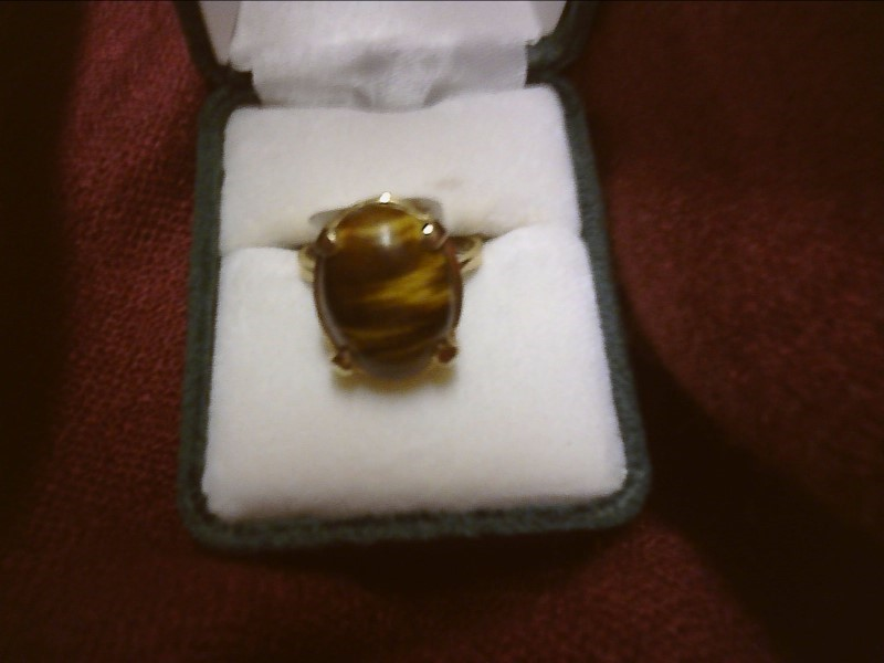 Agate Lady's Stone Ring 14K Yellow Gold 3.4dwt