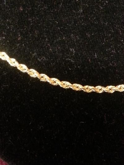"18"" Gold Rope Chain 10K Yellow Gold 7.3dwt"