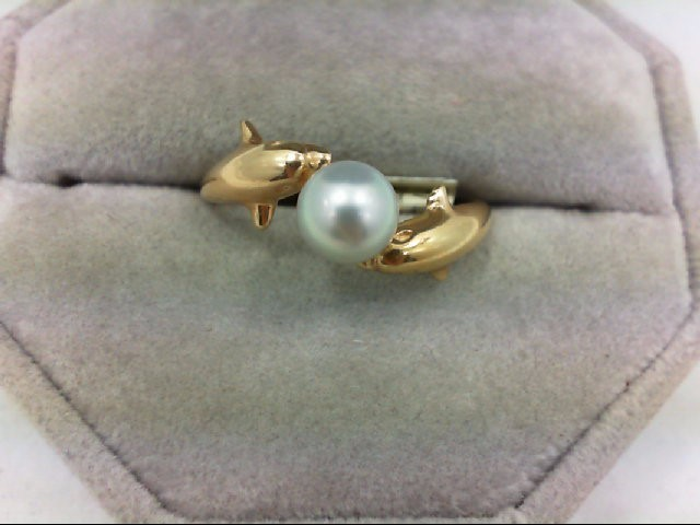 Pearl Lady's Stone Ring 14K Yellow Gold 2.7g Size:9