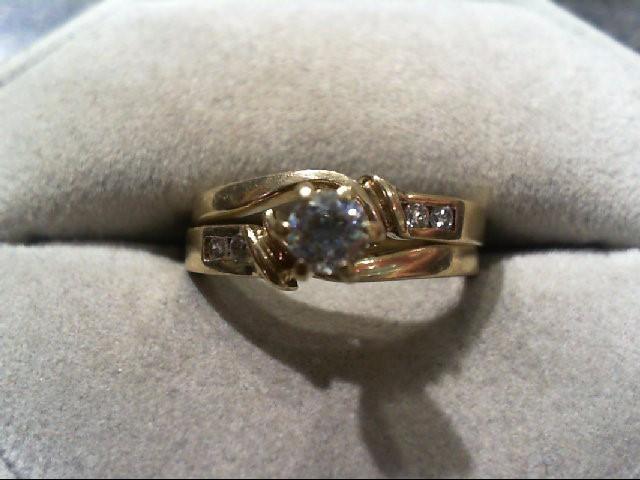 Lady's Diamond Wedding Set 5 Diamonds .37 Carat T.W. 14K Yellow Gold 4g