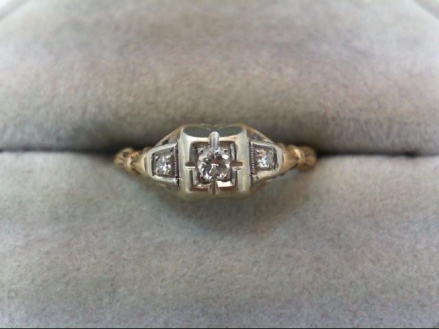 Lady's Diamond Engagement Ring 3 Diamonds .10 Carat T.W. 14K 2 Tone Gold 1.5g