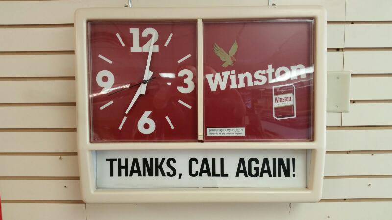 """Vintage Winston Cigarettes Light Up Clock """"Thanks, Call Again"""" Sign"""