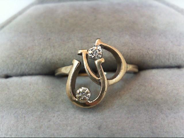 Lady's Diamond Fashion Ring 2 Diamonds .02 Carat T.W. 10K Yellow Gold 2.2g