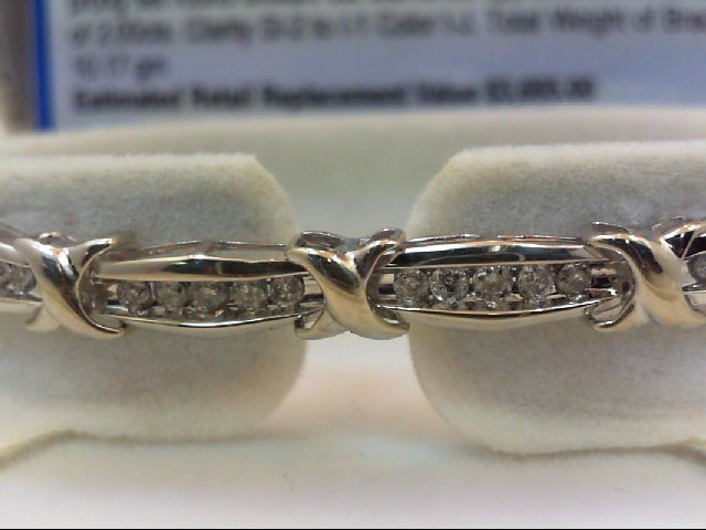 Gold-Diamond Bracelet 176 Diamonds 2.00 Carat T.W. 10K White Gold 10.17g