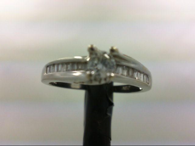 Lady's Diamond Engagement Ring 25 Diamonds .85 Carat T.W. 14K White Gold 2.7g