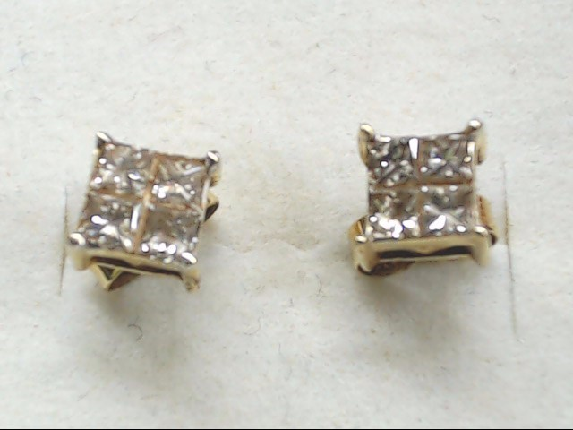 Gold-Diamond Earrings 8 Diamonds 1.20 Carat T.W. 14K Yellow Gold 1.5g