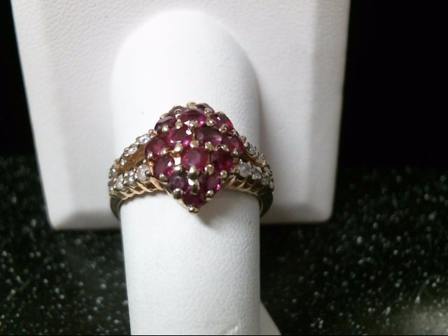 Synthetic Ruby Lady's Stone & Diamond Ring 16 Diamonds .48 Carat T.W.