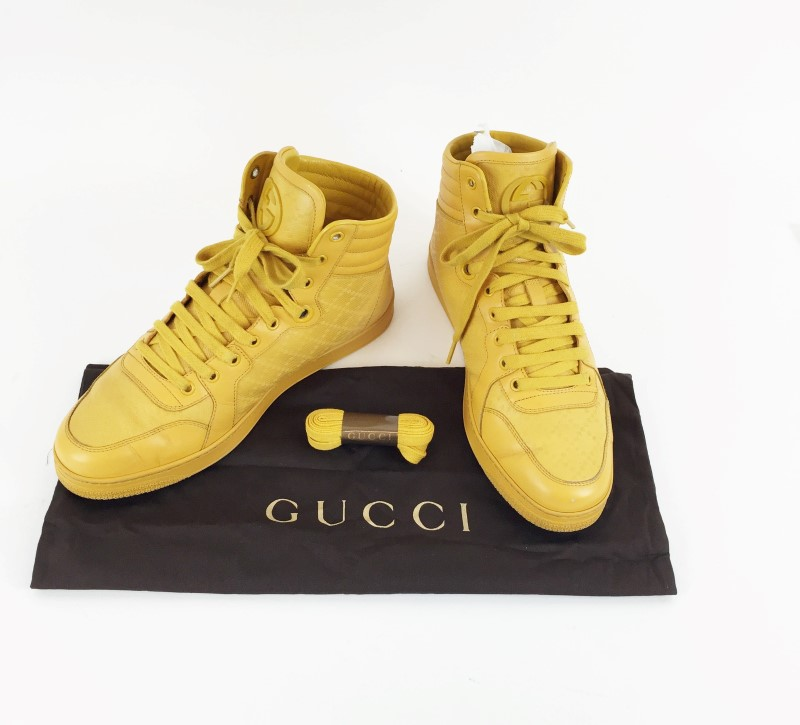 GUCCI DIAMANTE LEATHER HIGH-TOP SNEAKER
