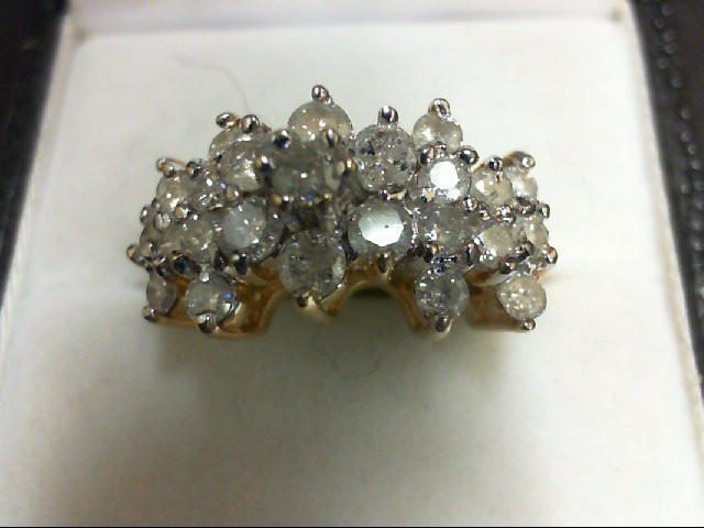 Lady's Diamond Cluster Ring 25 Diamonds 1.88 Carat T.W. 10K Yellow Gold 5g