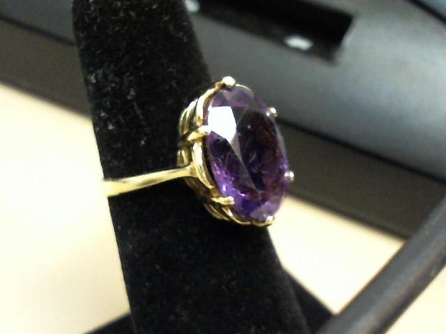 Purple Stone Lady's Stone Ring 10K Yellow Gold 2.4dwt Size:5