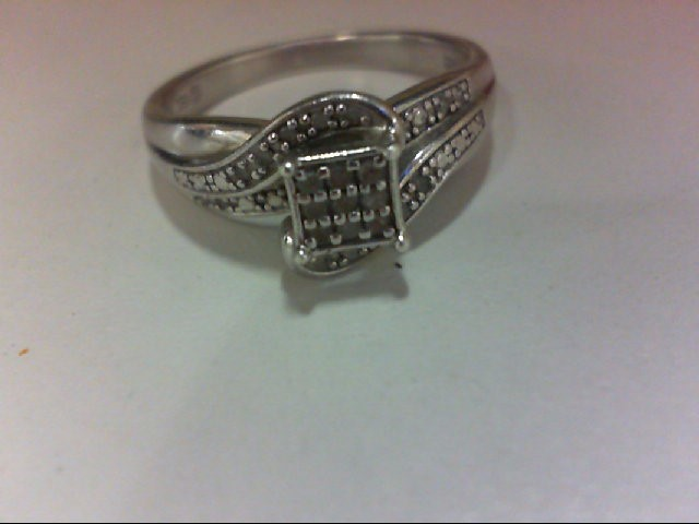 Lady's Silver-Diamond Ring 23 Diamonds .115 Carat T.W. 925 Silver 3.3g