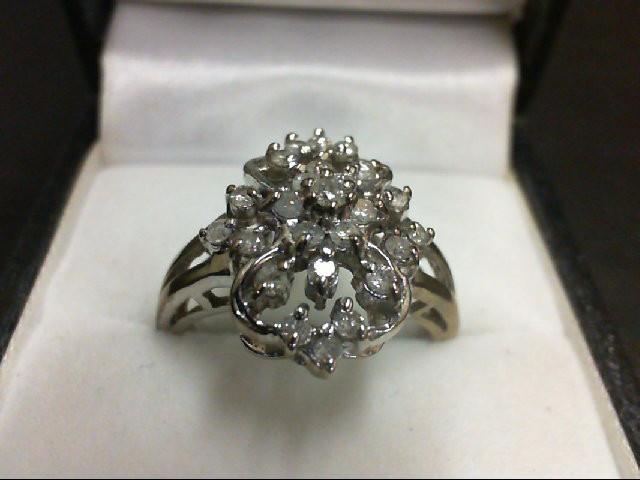 Lady's Diamond Cluster Ring 27 Diamonds 0.29 Carat T.W. 10K White Gold 3.9g