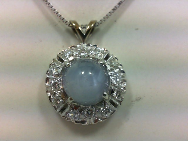 Star Sapphire Gold-Diamond & Stone Pendant 12 Diamonds .72 Carat T.W.
