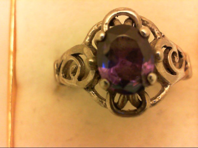 Synthetic Purple Stone Lady's Silver & Stone Ring 925 Silver 5.5g