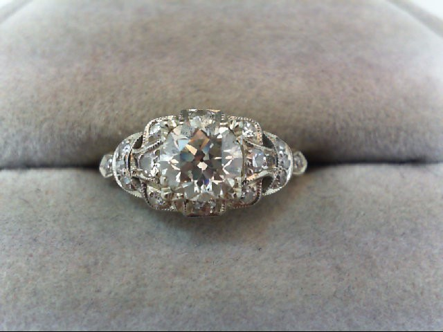 Lady's Diamond Engagement Ring 17 Diamonds 1.17 Carat T.W. 14K 2 Tone Gold