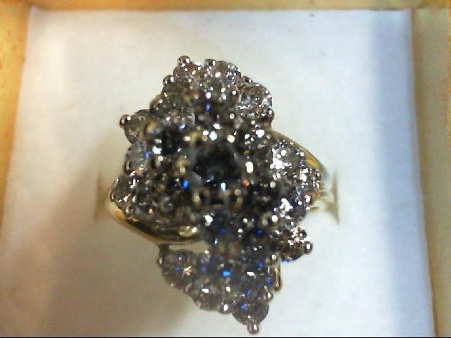 Lady's Diamond Cluster Ring 27 Diamonds 1.4 Carat T.W. 14K Yellow Gold 5.5g