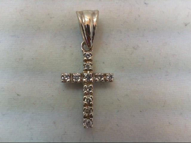 Gold-Multi-Diamond Pendant 11 Diamonds .11 Carat T.W. 14K White Gold 1.6g