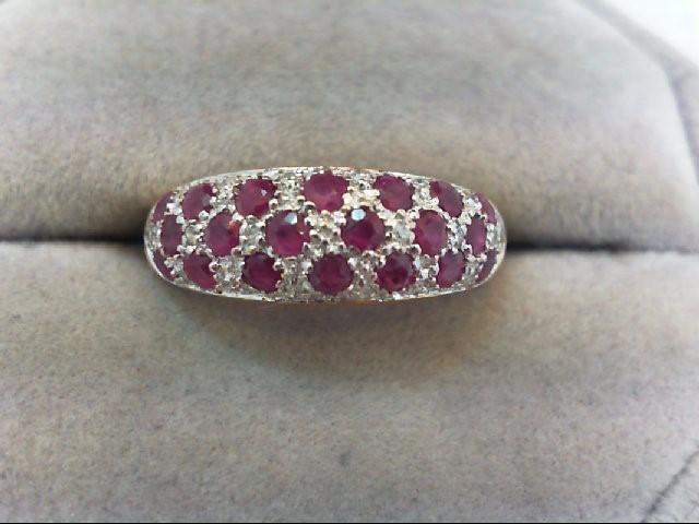 Ruby Lady's Stone & Diamond Ring 21 Diamonds .21 Carat T.W. 10K Yellow Gold