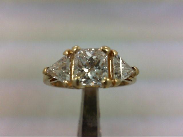 Lady's Diamond Engagement Ring 3 Diamonds 2.00 Carat T.W. 14K Yellow Gold 2.68g