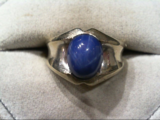 Synthetic Star Sapphire Gent's Stone Ring 10K White Gold 7g