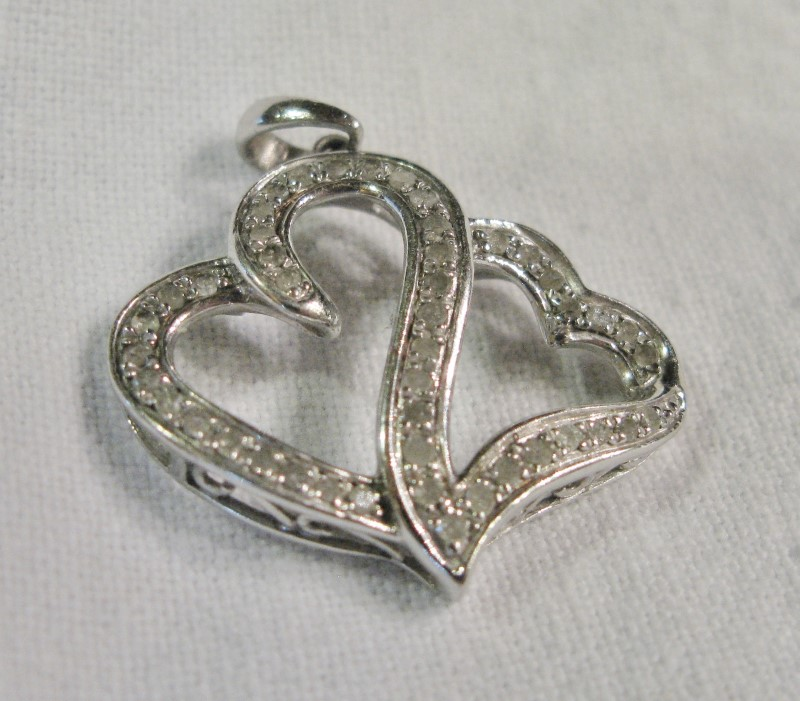 Double Heart Silver-Diamond Pendant 46 Diamonds .46 Carat T.W. 925 Silver 2.1dwt